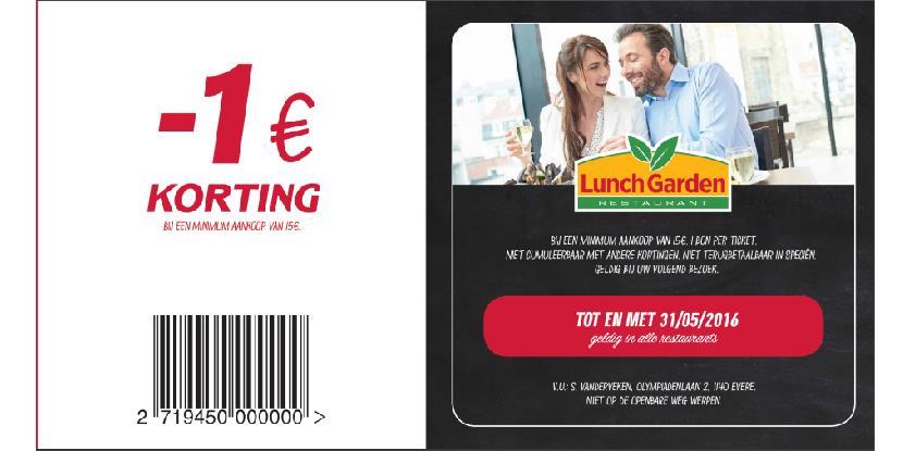 1€ korting bij aankoop 15€