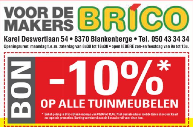 10% op alle tuinmeubelen in Brico Blankenberge