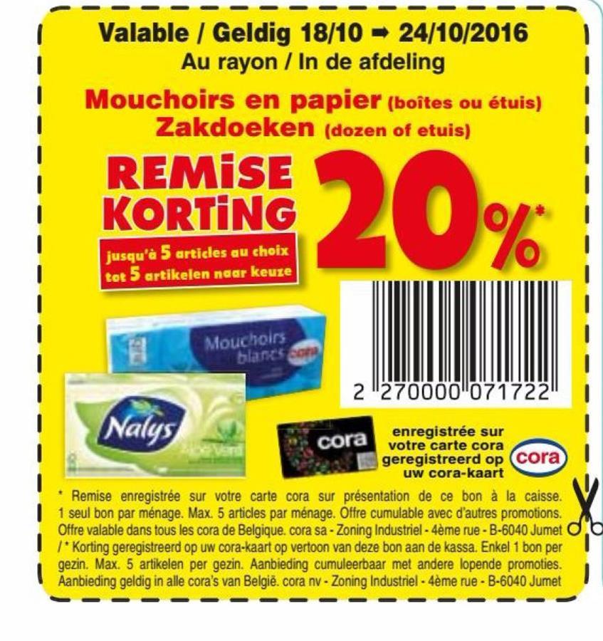 20% korting op zakdoeken