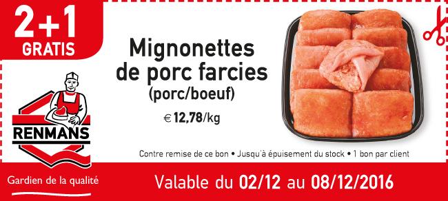 Mignonettes de porc farcies