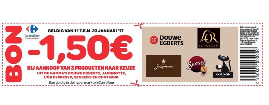 1,5€ korting bij aankoop van 3 producten