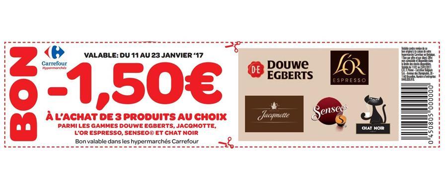1,5€ réduction à l'achat de 3 produits