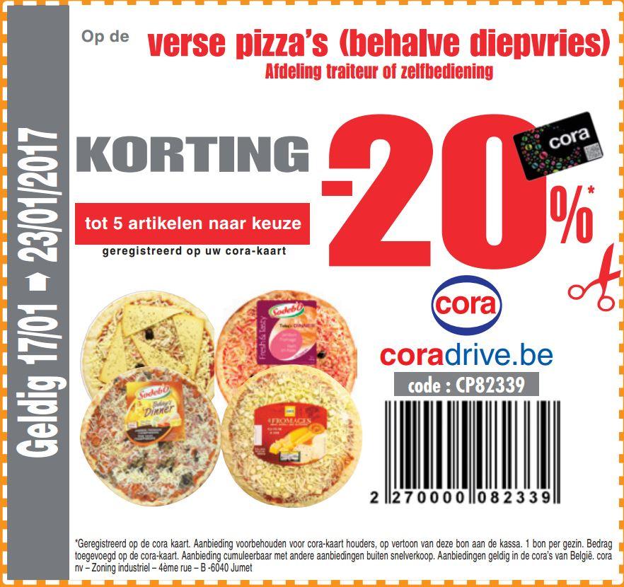 -20% op pizza's