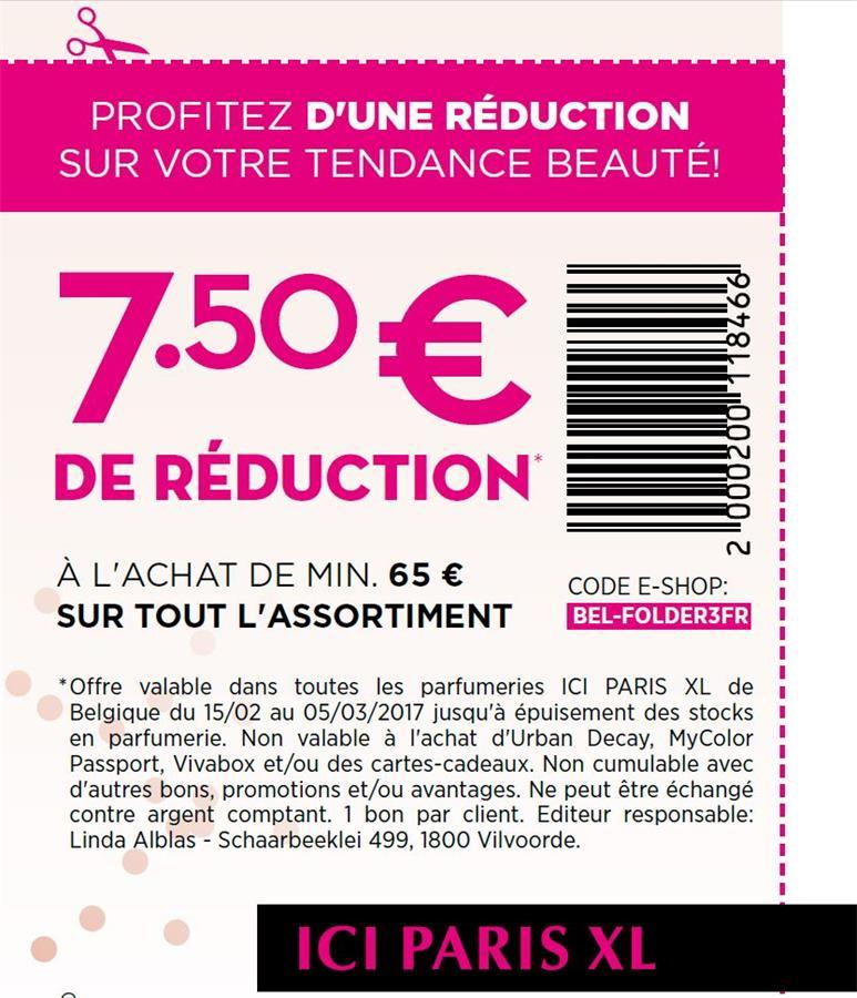 7,5€ de réduction à l'achat de min 65€