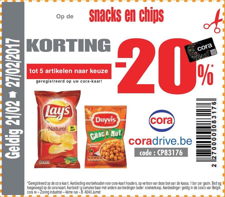 20% korting op chips & snacks