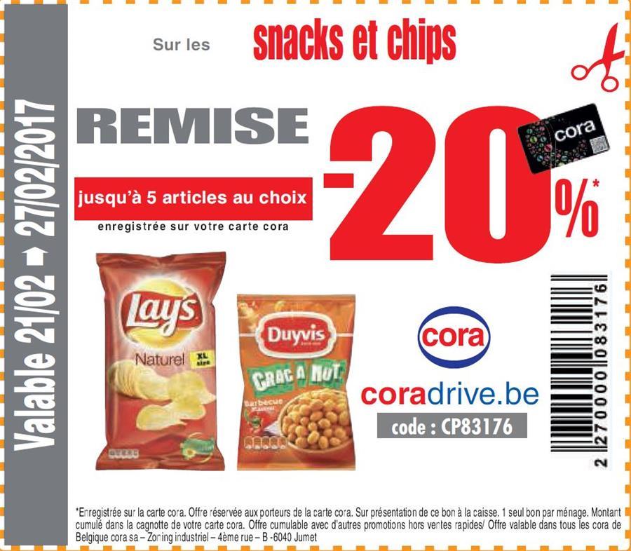20% sur les snacks et chips