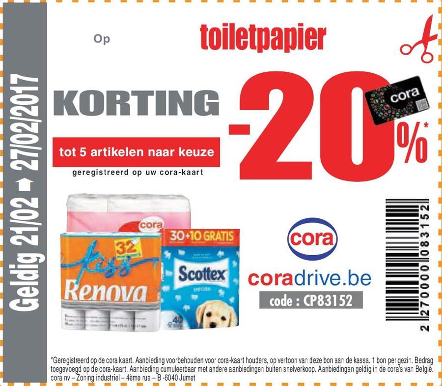 20% korting op WC papier
