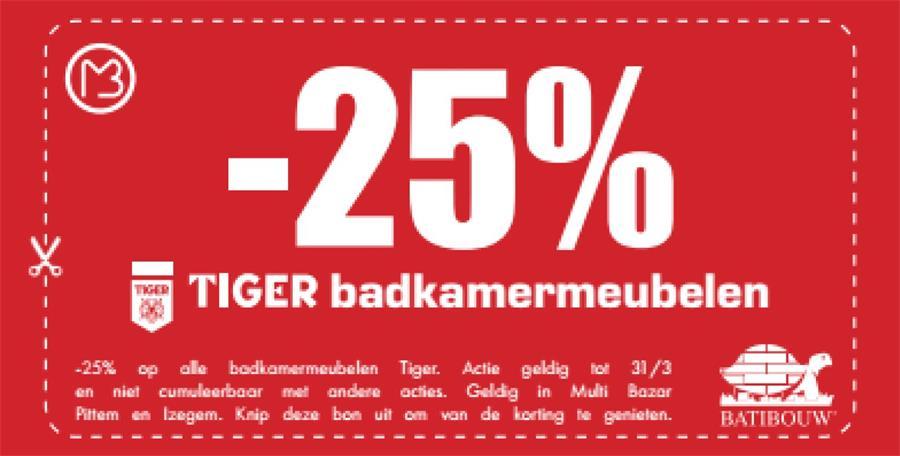 25% op tiger badkamermeubelen