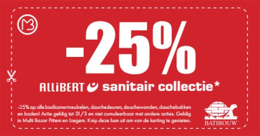 25% op Allibert sanitair collectie