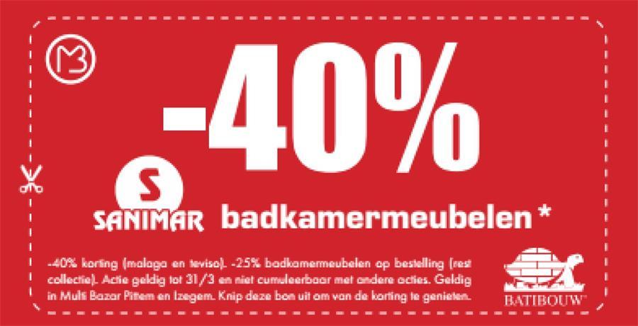 40% op Sanimar badkamermeubelen