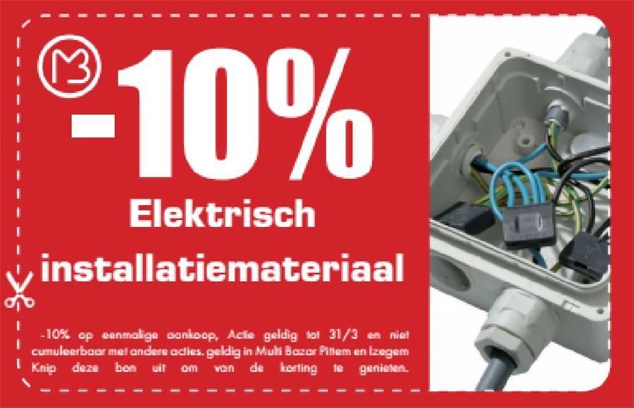 10% op elektrisch installatiemateriaal