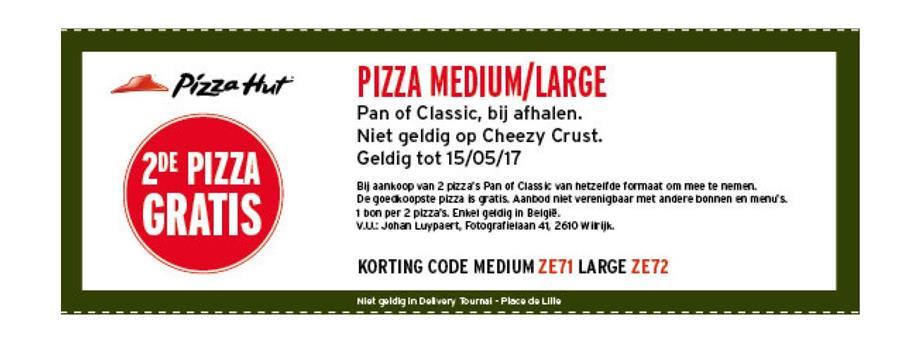 2e pizza gratis bij afhalen