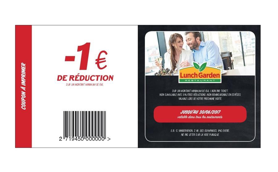 €1 réduction sur un minimum de  €15