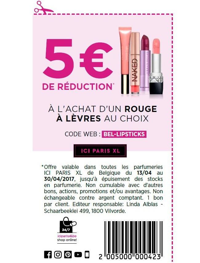-5€ de réduction sur un rouge de lèvres