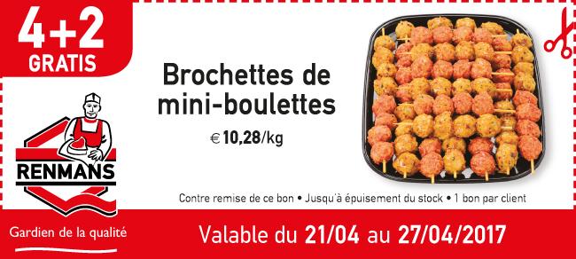 4+2 gratuit brochette de mini-boulettes