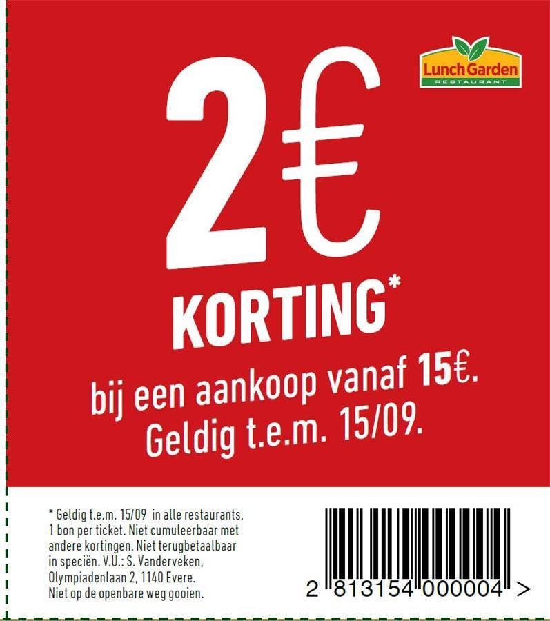 2€ korting bij aankoop van 15€
