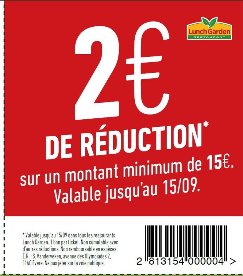 2€ de reduction sur un montant de 15€