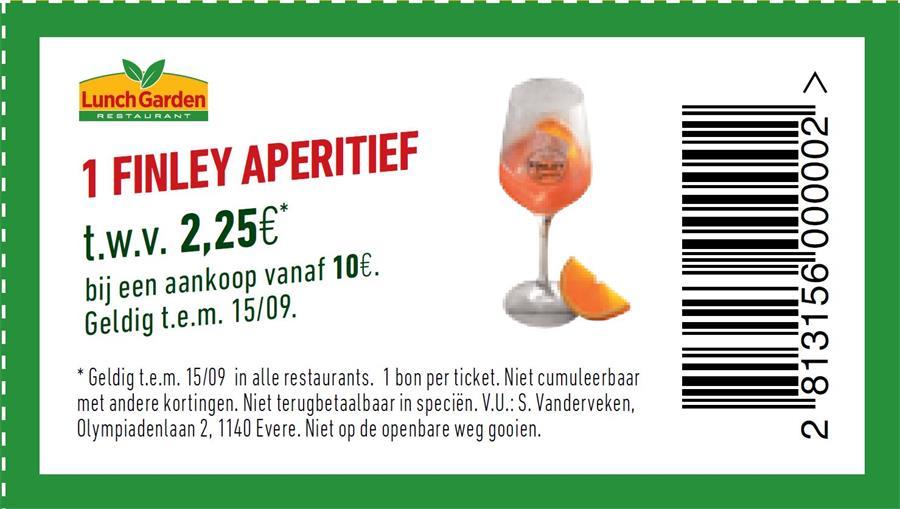 1 finley aperitief vanaf €10 aankopen