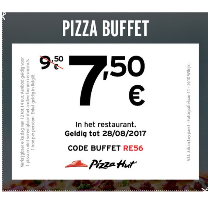 Pizza bufffet aan 7,5€
