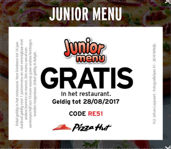 gratis junior menu