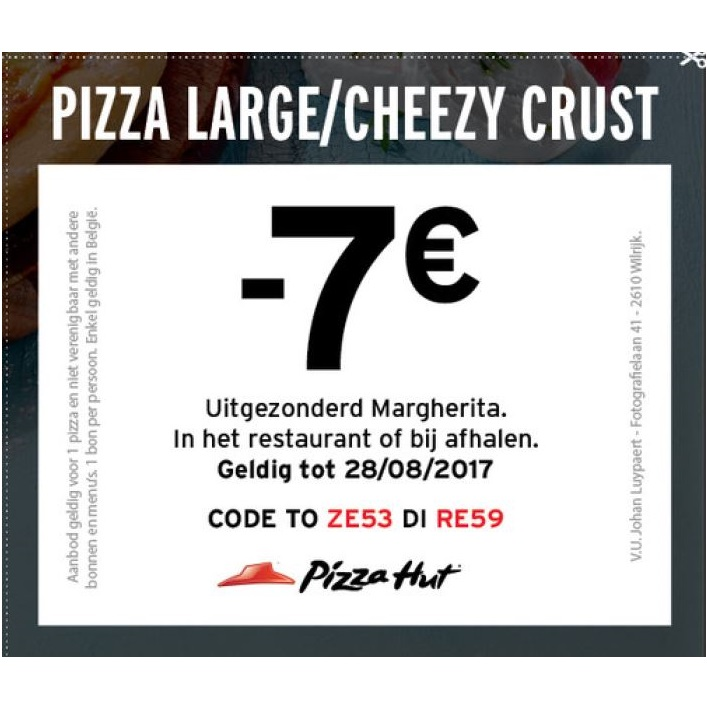 Pizza Large of Cheesy crust aan €7.5