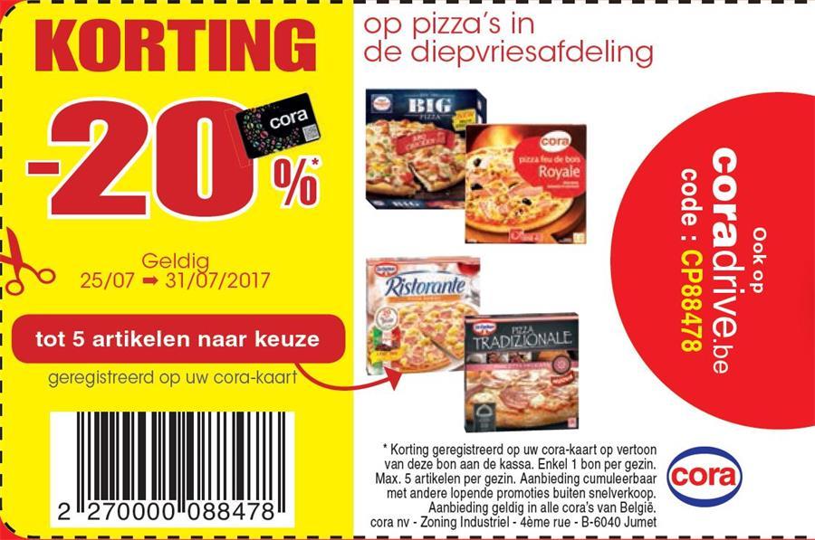20% op pizza