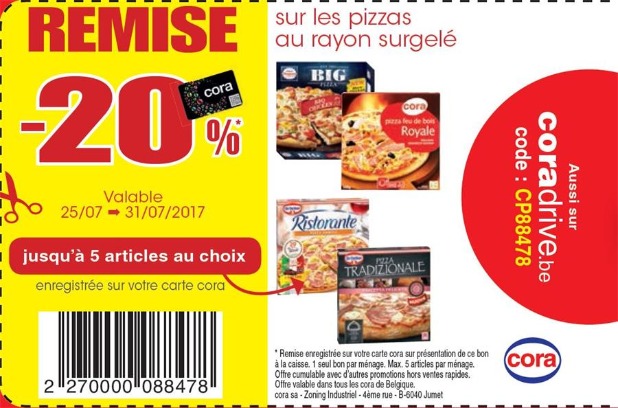 20% de reduction sur les pizza's