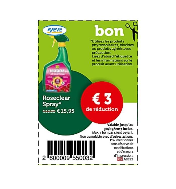 3€ reduction sur rose spray