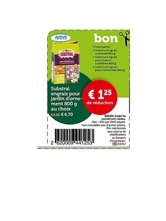 1,25€ de reduction sur subtral