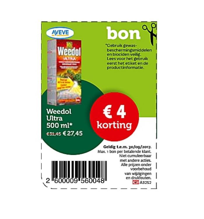 €4 korting op weedol