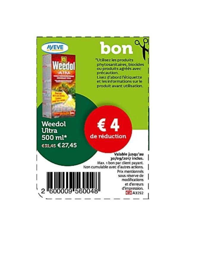 4€ reduction sur weedol