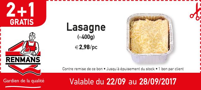 2+1 gratis lasagne
