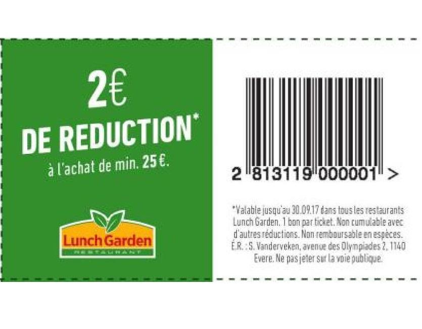 2€ réduction à l'achat de 25€