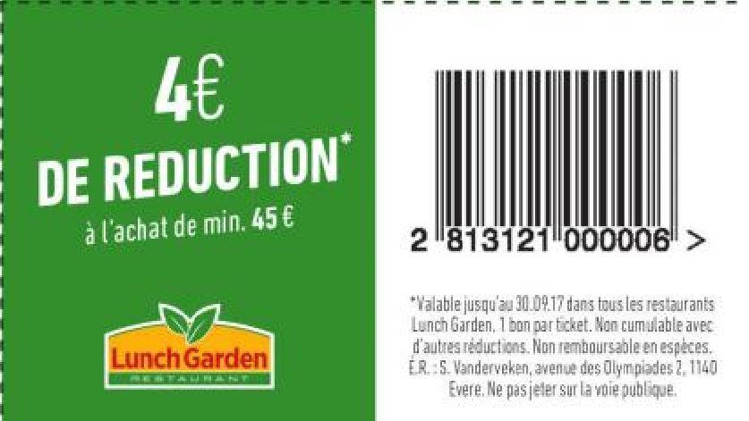 4€ réduction à l'achat de 45€