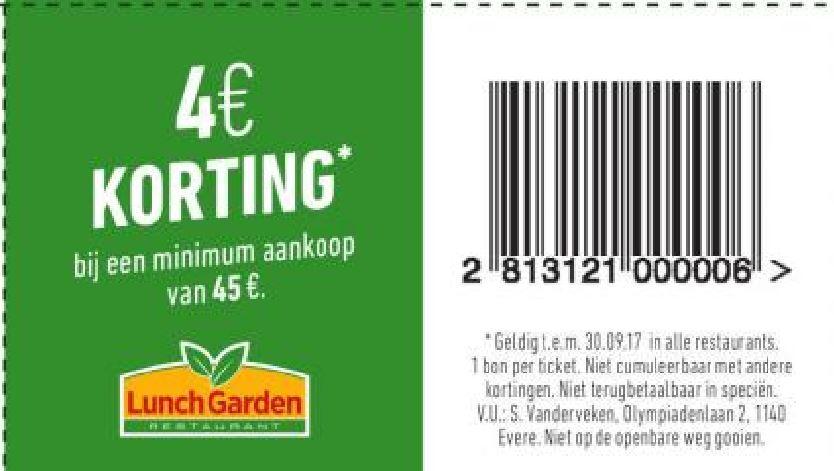 €4 korting bij min aankoop van €45